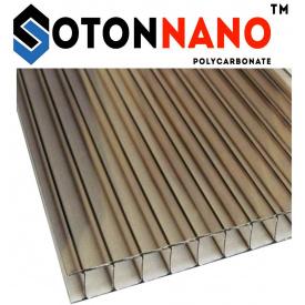 Сотовый поликарбонат ТМ SOTON NANO 10х2100х6000 мм бронзовый