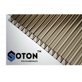 Сотовый поликарбонат ТМ SOTON 8x2100х6000 мм бронзовый