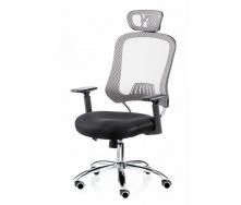 Офісне крісло Special4You Cancer з підголовником спинка-сітка сірого кольору