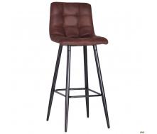 Барный стул AMF Mobil черный 1030х420х480 мм мягкая замша Cowboy коричневый