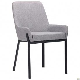 Мягкое обеденное кресло AMF Charlotte 850х560х600 мм серое сидение черный металлокаркас
