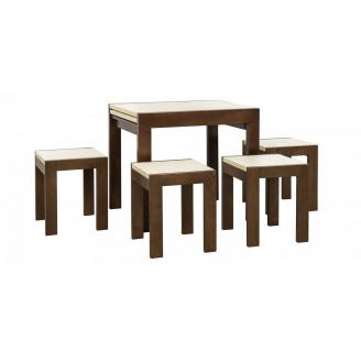 Столовий комплект Твіст (стіл + 4 табурета) горіх / ваніль Меблі-Сервіс