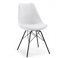 Пластиковый мягкий стул Тау белый метал ножки черные