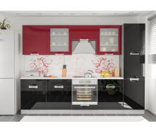 Кухня Кармен 2,0 м со столешницей черный+красный Мебель-Сервис