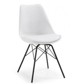 Пластиковий м`який стілець Тау білий метал ніжки чорні
