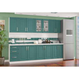 Кухня Гамма матова 2,0 м. З стільницею білий / зелений Меблі-Сервіс