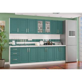 Кухня Гамма матовая 2,0 м. со столешницей белый/зеленый Мебель-Сервис