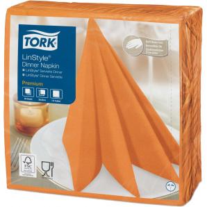 Салфетки декоративные Tork LinStyle Premium 39х39 оранжевые 50 шт