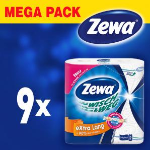Упаковка бумажных полотенец Zewa Wisch Weg Extra Lang 9 шт по 2 рулона