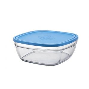 Скляний контейнер-салатник Duralex Lys Carre Frashbox з кришкою квадратний 23х23 см 3100 мл блакитний