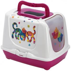 Туалет Moderna Trendy Friends Forever для котов 50х39х37 см Розовый