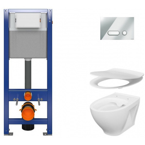 Инсталляция CERSANIT Aqua 22 QF Set B209 + унитаз Moduo CleanON с сиденьем Slim Soft Close + панель смыва Intera хром