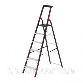 Стремянка 6 ступеней лоток для инвентаря стальной профиль высота верхней ступени 1280мм 481х1138х1787мм 150кг INTERTOOL LT-0056