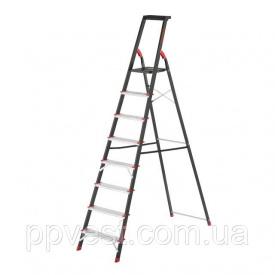 Стремянка 8 ступеней лоток для инвентаря стальной профиль высота верхней ступени 1720 мм 527х1437х2221мм 150кг INTERTOOL LT-0058