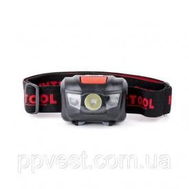 Ліхтар налобний світлодіодний, пиловологозахищений корпус, чотири режиму роботи, 1 Вт + 2 LED, 3 батарейки ААА. INTERTOOL LB-0302