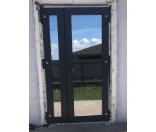 Двері вхідні металопластикові двостулкові колір антрацит 1200х2100 мм