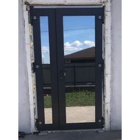Двери входные металлопластиковые двухстворчатые цвет антрацит 1200х2100 мм