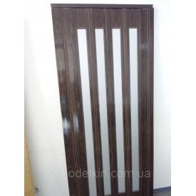 Двері гармошка засклена горіх 7103 дзеркало 860х2030х12 мм