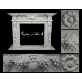Мраморный портал для камина белого цвета 2100х1600х300мм