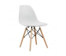 Пластиковый стул SDM Тауэр Вуд белый ножки деревянные