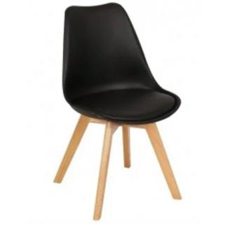 Стул SDM Тор сиденье пластик черное ножки дерево бук