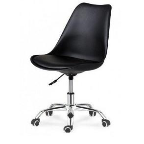 Невисока крісло SDM Астер чорне сидіння з подушкою на колесах хром