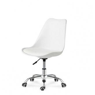 Крісло SDM Астер біле сидіння з подушкою на колесах хром