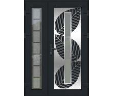 Металопластикові фасадні двері m-1257 900х2050 мм Горіх