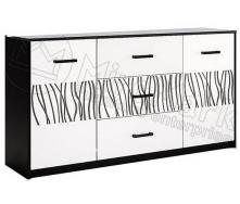 Комод Терра 1.6м 2Д 3Ш білий глянець + чорний мат Миро-Марк