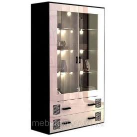 Сервант Виола 2Д с подсветкой белый глянец + черный мат Миро-Марк
