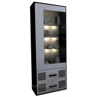 Сервант Виола 1Д с подсветкой белый глянец + черный мат Миро-Марк