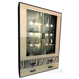 Сервант Терра 2Д с подсветкой белый глянец + черный мат Миро-Марк