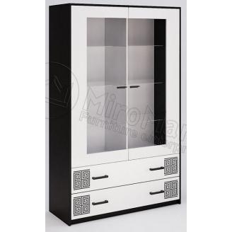 Сервант Виола 2Д без подсветки белый глянец + черный мат Миро-Марк