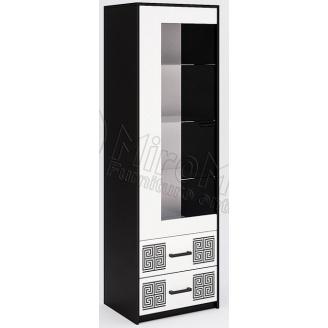 Сервант Виола 1Д без подсветки белый глянец + черный мат Миро-Марк