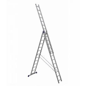 Алюминиевая трехсекционная лестница усиленная 3 х 13 ступеней (полупрофессиональная)