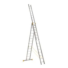Лестница алюминиевая трехсекционная 3 х 14 ступеней (профессиональная)