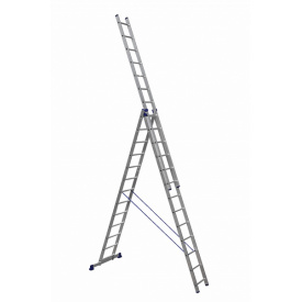 Лестница алюминиевая трехсекционная 3 х 13 ступеней (универсальная)