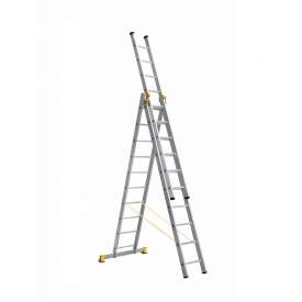 Лестница алюминиевая трехсекционная 3 х 10 ступеней (профессиональная)