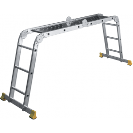 Шарнирная лестница трансформер на 4 секции по 3 ступени с настилом