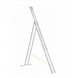 Алюминиевая трехсекционная лестница 3 х 20 ступеней (профессиональная)