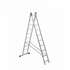 Лестница алюминиевая двухсекционная 2 х 10 ступеней (универсальная)
