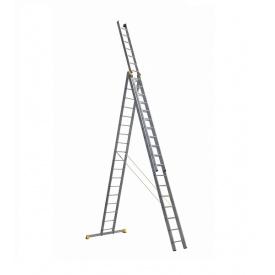 Лестница алюминиевая трехсекционная универсальная 3 х 18 ступеней (профессиональная)