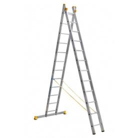 Лестница алюминиевая профессиональная двухсекционная 2 на 12 ступеней