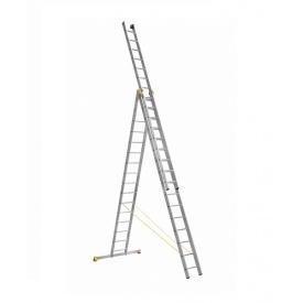 Лестница алюминиевая трехсекционная универсальная 3 х 16 ступеней (профессиональная)