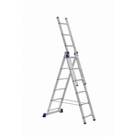 Алюминиевая трехсекционная лестница 3 х 6 ступеней (универсальная)
