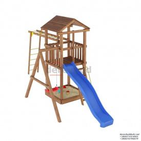 Деревянный детская площадка WOODEN TOWN №04 Д * Ш * В - 6,6м * 2,2м * 3,5М