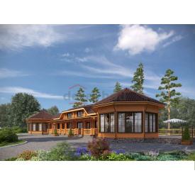 Будинок з оциліндрованої колоди 180 мм проект Т-2 12,84 x 41,2 м