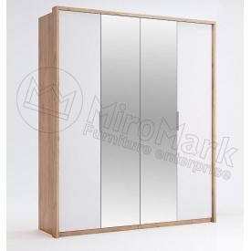 Шафа Асті 4Д з дзеркалом дуб крафт + білий глянець Миро-Марк