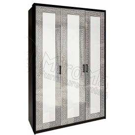 Шкаф Виола 3Д без зеркал белый глянец + черный мат Миро-Марк