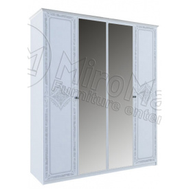 Шафа Луїза 4Д з дзеркалом білий глянець Миро-Марк